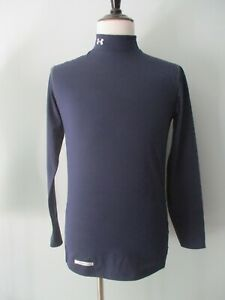 Under Armour Cold Gear Fitted Long Sleeve Navy Blue Shirt Men's Medium Perfect!