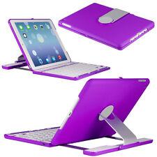 Apple iPad Air 2 360 Rotating Swivel Bluetooth Keyboard Folio Case Cover Purple