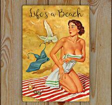 Beach Sign, Beach Plaque, Metal (Tin) Beach Sign, Pin-Up Girl, Life's a beach