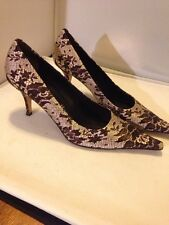 Stunning Bettye Muller Brown Silk floral Lace Pointy Toe Pumps Boutique $363