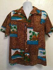 Vintage Royal Islander Tiki Hawaiian Print Shirt Polyester Volcano Large (75)