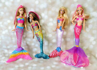 Lot of 4 Mermaid Barbie Dolls 2010 2013 2015 Blonde Brunett Pinkn= Mattel