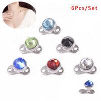 6Pcs/Set Dermal AnchorTop Head Crystal Surface Body Ring Studs PiercingJewelr ML