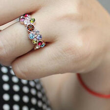 Women Fashion Colorful Hollow Diamond Ring Finger Vintage Crystal Cocktail Ring