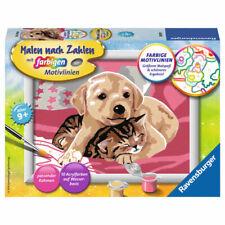 Katze.. DIN A4 Malen nach Zahlen mit Buntstiften Haustiere beim Picknick Hund