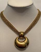 Vintage Signed Monet 4 Strand Chunky Gold Tone Pendant Necklace