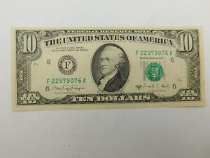 1988 A $10 Wet Ink Transfer Offset Major Error TEN Dollar NICE!!!! (18)