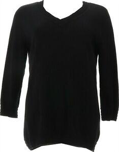 Isaac Mizrahi 3/4-Sleeve Border Stitch V-Neck Sweater Black 3X NEW A376789
