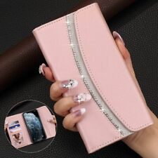 Cell Phone Case Wallet Flip Glitter Pink Cover Card Holder Elegant Accessories