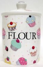 Fairy Cupcakes Flour Canister Bone China Cupcakes Storage Jar Hand Decorated UK