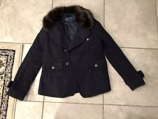 AMERICAN EAGLE WOMENS P COAT SIZE L With Fur Collar Peacoat