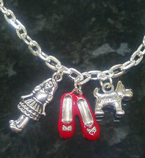 Wizard of Oz Inspired Silver Plated Chain Link Necklace 20 inches Ruby Slippers