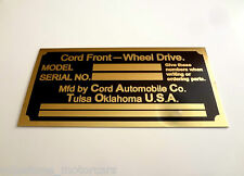 Glenn Pray 2nd Generation Cord 8/10 Reproduction Body Color Tag Plate EL 810 812