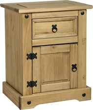 Corona Bedside Table End Table Drawer & Door Distressed Light Waxed Solid Pine