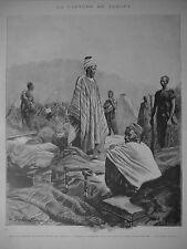 PHOTOGRAVURE 1898 LA CAPTURE DE SAMORY FAISANT LA PRIÈRE APRÈS LA CAPTURE