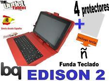 FUNDA TECLADO PARA TABLET Bq EDISON 2 Fnac 10 Color ROJO + 4 Protectores