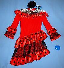 Spanish Flamenco dress girls 4-6-Cinco de Mayo-Senorita costume;flower;castanet
