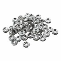 50 x Clear Rhinestone Rondelle Spacers Beads 8x3mm(Silver) E9I4