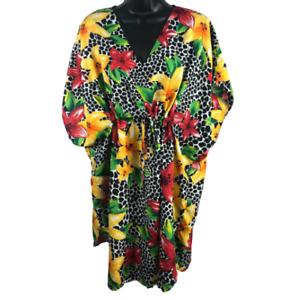 Bobbie Brooks Multi-Color Floral Short Sleeve Coverup Dress Women's One Size