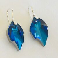 925 Sterling Silver Swarovski Elements Earrings Crystal Leaf Blue Christmas Gift