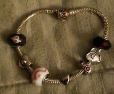 """Sterling silver 925 European Bracelet +7 Beads, Heart, Glass, Chrystal LOVE 7.5"""""""