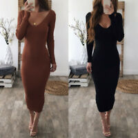 Women Knitted V Neck Ladies Long Sleeve Sweater Maxi Winter Bodycon Jumper Dress