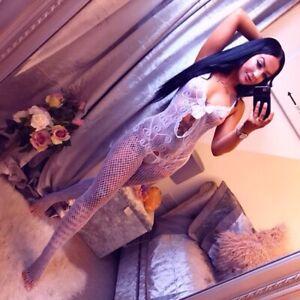 Sexy Women's Fishnet Open Crotch Body Stocking Bodysuit Lingerie White  5046