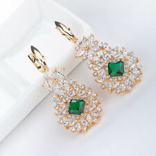 Ladies Bridal Long Earrings Yellow Gold Emerald Christmas Gift Wedding Earrings