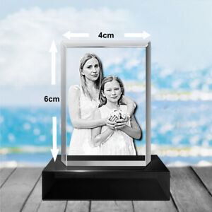 Personalised Glass Crystal Engraved 2D Laser Etched-  6cm x 4cm - Small