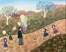 Josette BARDOUX (1948) Art Naïf Le vendeur de ballons