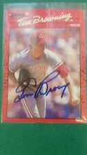 TOM BROWNING 1990 DONRUSS ( HAND SIGNED ) CARD #308 1990 WS CHAMPION REDS
