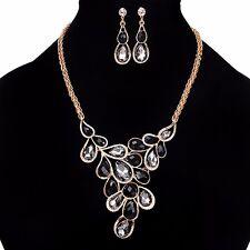 Fashion Women Choker Collar Black Statement Chain Pendant Crystal Bib Necklace