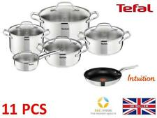 TEFAL UNO STAINLESS STEEL POTS + 24 CM INTUITION PAN KITCHEN COOKWARE SET 11 PCS