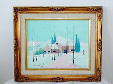 Vintage Robert Sills Gallery Turquoise Snow Mountains Landscape Oil Painting Art