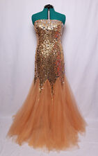 NINA CANACCI GOLD SILVER SEQUIN TULLE CORSET STRAPLESS PROM FORMAL GOWN DRESS 14