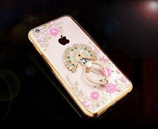 Luxury Bling Diamond Flower Garden Ring Holder Stand Soft Clear Phone Case Cover
