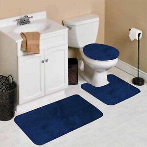 #6 SOLID 3PC BATHROOM SET SOFT COMFORT BATH RUGS ANTI SLIP SOLID COLOR DECOR