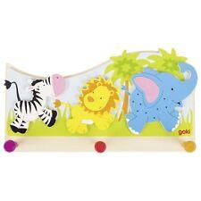 Kinder - Garderobe Garderobenhaken Afrika Tiere Elefant Löwe Holz Kleiderhaken