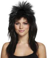 Adult 80s Ladies Black Glam Rock Diva Wig Fancy Dress Spike Mullet Punk