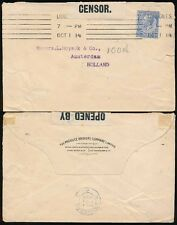 GB WW1 CENSORED to NETHERLANDS 2 1/2d FRANKING 1914 PRODUCE BROKERS CO PERFIN