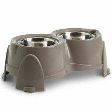 Raised Dog Bowls Double Water Food Feeder Station Stainless Steel 2 x 0.85L