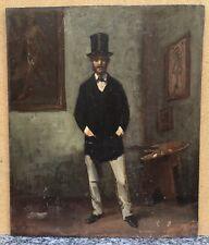 Tableau Ancien Portrait Homme Peintre Chapeau Intérieur d'Atelier Palette XIXe