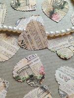 100 VINTAGE STYLE SCRIPT & CROCHET ROSE PAPER WEDDING TABLE CONFETTI DECORATIONS