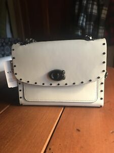 Coach Parker 18 Leather With Rivets Chalk/Black Copper 29389 NWT