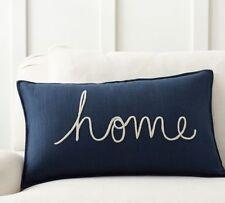 "Pottery Barn ""Home"" Sentiment Lumbar Pillow Cover 16"" X26"" NEW"