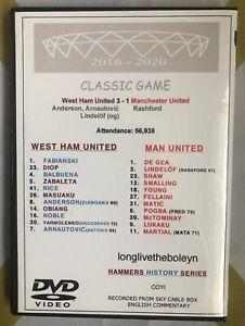 WEST HAM UNITED vs MANCHESTER UTD 3:1 2018 DVD CLASSIC GAME - ARNIE, ANDERSON