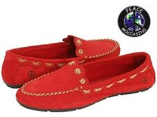 """Women's Peace Mocs """"Kate"""" Red Suede Loafer Moccasins 6M New In Box PM447150"""