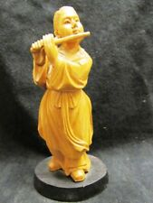 VINTAGE CHINESE HAND CARVED WOODEN FLUTE PLAYER FLAUTIST ON WOODEN STAND