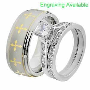 His & Hers Wedding Rings Sets Stainless Steel Princess CZ Tungsten Men Band GO