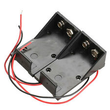 2PCS DC 9V Volt Battery Clip Holder Box Case Cover+Wire Lead Wire Cable Sale